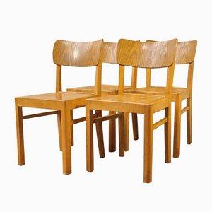 Holz Stühle mit Linoleum von Lübke, 1940er, 4er Set