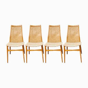 Viennese Wicker Dining Chairs from Möbelfabrik Benze, 1950s, Set of 4