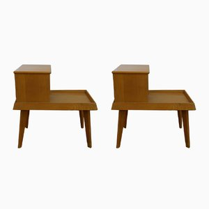 Mid-Century Varnished Light Oak Bedside Tables, Set of 2