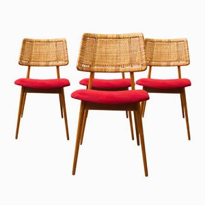 Wicker & Cherrywood Model 339 Dining Chairs from Habeo, 1950s, Set of 4