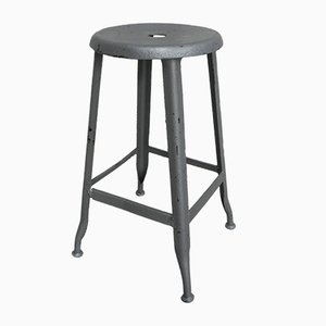 French Steel Industrial Stool, 1950s