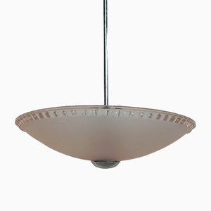 Art Deco Ceiling Lamp with Pink Glass Shade on Chromed Pendant
