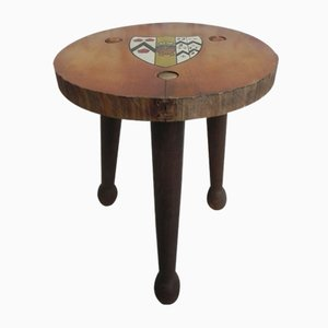 Wooden Tripod Stool with Escutcheon, 1960s