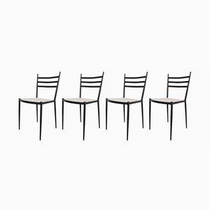 Metall Esszimmerstühle, 1950er, 4er Set