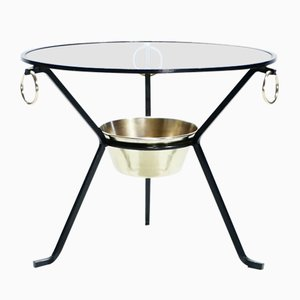 Brass Gueridon Side Table by Jacques Adnet, 1950s