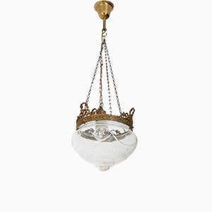 French Art Nouveau Brass and Beveled Glass Hall Lamp, 1900s