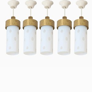 Lámparas colgantes italianas Mid-Century, años 60. Juego de 5