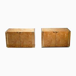 Mesitas de noche pequeñas de madera nudosa y latón de JC Mahey para Roche Bobois, años 70. Juego de 2