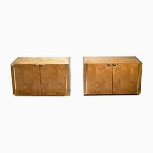 Small Burl & Brass Nightstands by JC Mahey for Roche Bobois, 1970s, Set of 2