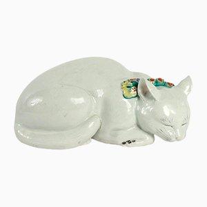 Antike japanische Porzellan Katze von Perret et Vibert