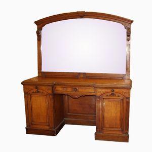 Credenza in legno di quercia chiaro e specchio, fine XIX secolo
