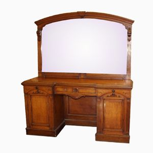 Light Oak Sideboard with Carved Mirror Back, 1890s