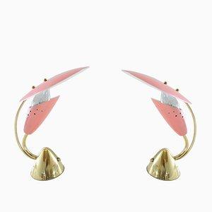 Lampade da scrivania vintage in ottone e metallo rosa di Arredoluce, set di 2