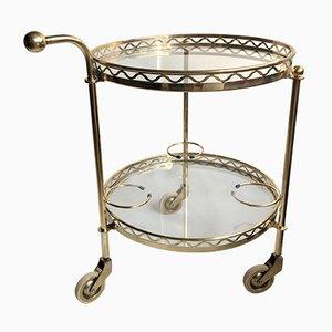 Vintage Brass & Glass Bar Trolley from Maison Baguès