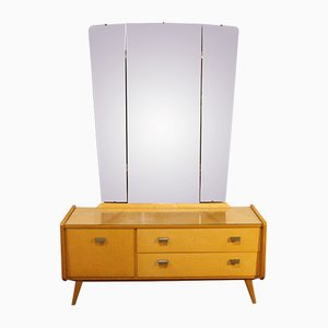 Vintage Dressing Table with Three-Piece Mirror, 1950s