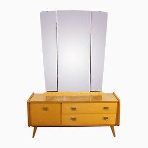 Vintage Frisiertisch mit 3-teiligem Spiegel, 1950er