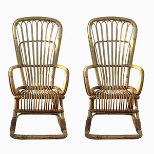 Bamboo Rocking Chairs, 1950s, Set of 2