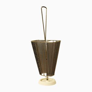 Vintage Messing Schirmständer mit Lochblech, 1950er