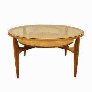 Round Walnut Coffee Table with Glass Top, 1960s