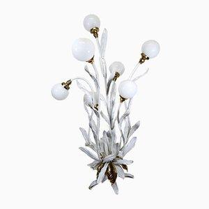 Lampada da terra floreale con 7 luci, anni '60