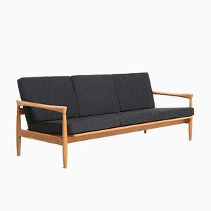 Canapé 3-Places Vintage en Chêne avec Coussins Noirs
