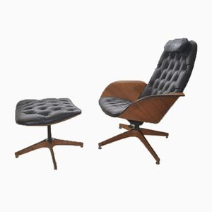 Mid-Century Mr Chair Lounge Chair & Footstool by George Mulhauser for Plycraft