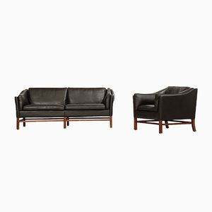 Danish Living Room Set in Leather, 1970s