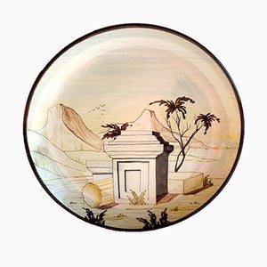 Piatto vintage in maiolica di Christian Dior per Eugenio Taccini