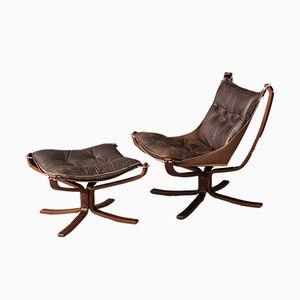Falcon Chair mit Fußhocker von Sigurd Resell für Vatne, 1970er