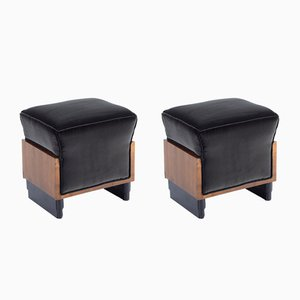 Art Deco Italian Stools in Black Velvet, 1932, Set of 2