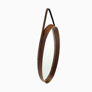 Italian Mid-Century Oval Mirror with Teak Frame, 1950s