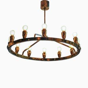 Lámpara de araña sueca vintage redonda de latón
