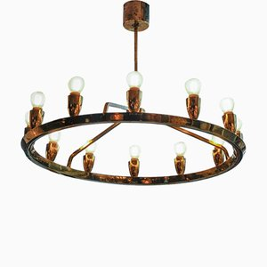 Vintage Swedish Brass Round Chandelier