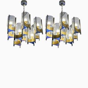 Lámparas de araña vintage de níquel y latón de Gaetano Sciolari. Juego de 2
