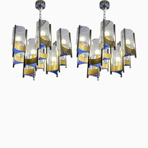 Vintage Nickel & Brass Chandeliers by Gaetano Sciolari, Set of 2