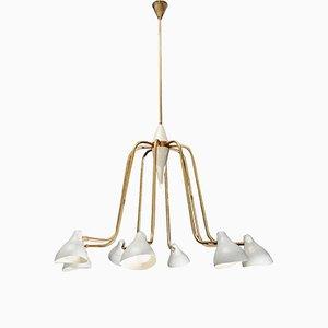 Lámpara de araña italiana Mid-Century de latón y metal esmaltado, años 60