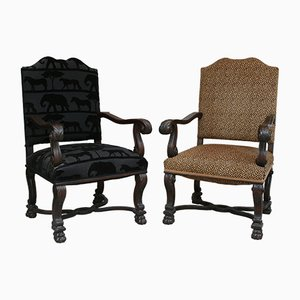 Antique Baroque Style Armchairs, 1860s, Set of 2