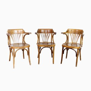 Vintage Bistro Chairs with Armrests, Set of 3