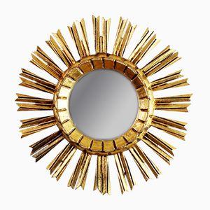 Vintage Stuck und Holz Spiegel in Sonnen Optik