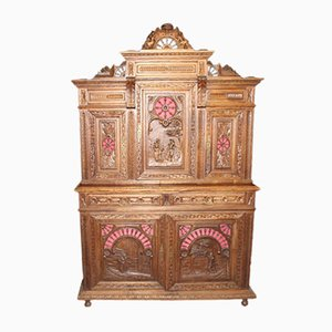 Carved Oak Breton Cupboard, 1910s