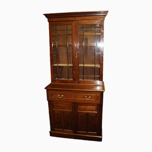 Vintage 2-Door Solid Walnut Showcase with Glazed Display Top
