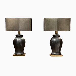 Vintage Italian Black Leather Lamps, 1970s, Set of 2