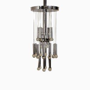 Lampada da soffitto vintage in metallo e vetro, Italia