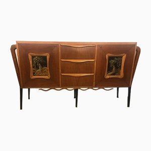 Credenza with Handpainted Relief Front, 1950s