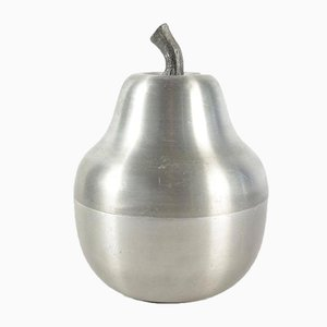 Cubitera en forma de pera de aluminio cepillado, años 70