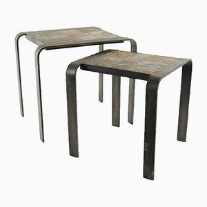 Tables Gigognes en Fer Forgé & Ardoise, 1960s, Set de 2