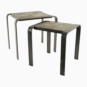Wrought Iron and Slate Nesting Tables, 1960s, Set of 2