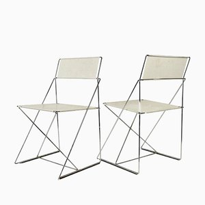 Stainless Steel and Painted Metal Side Chairs, 1970s, Set of 2
