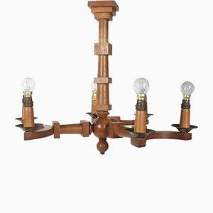 Lámpara de araña de madera con seis brazos, años 40