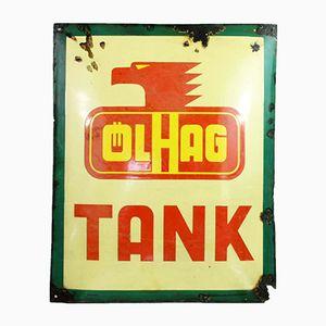 Plato Olhag Tank alemán esmaltado, años 30